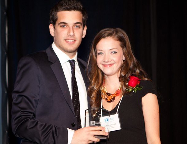 Petrocheilos receives his Award from Katharine Scrivener, a Cystic Fibrosis survivor