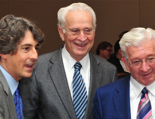 From left, Alexander Payne, brothers Ted and James Pedas, members of Leadership 100 and pioneers in theater and film distribution business