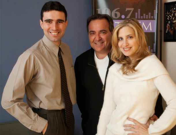 Markos Papadatos (left) at 106.7 Lite FM studio with Bob Bronson and Christine Nagy, PHOTO: LAURA DeSANTIS-OLSSON