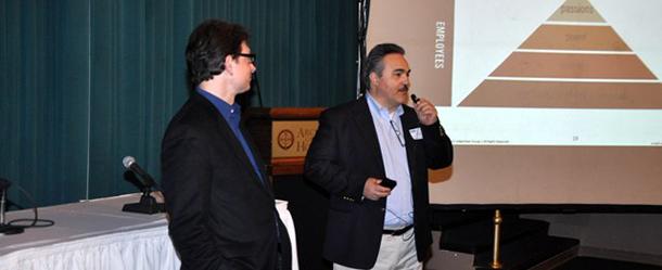 HBN President, John Dimitrakakis (right), thanks the Keynote Speaker, John P. Margaritis, following his entrepreneurship presentation