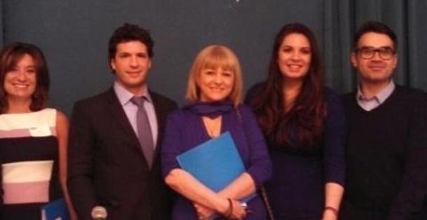 Presenters Cathy Giuliani, Justin Bozonelis, Maria Loi, Maria Avgitidis, with guest Consul of Greece in New York Evangelos Kyriakopoulos