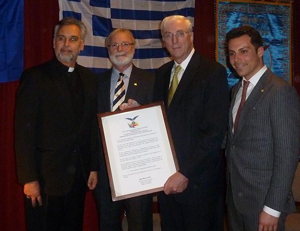 Rev. Fr. Dimitris Antokas, Anastasios Vassilas, Ambassador Collins and Efstathios Balatsos