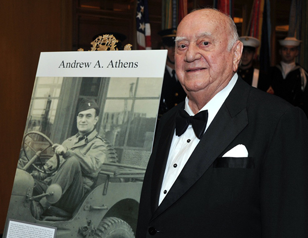 Andrew Athens - and a picture of him serving the US Army in World War II  - in October, 2011 when he was honored in Washington DC, along with Senator Bob Dole, with the Greatest Generation Award.