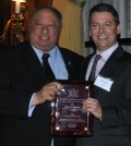 John Catsimatidis, Brent Callinicos holdind the Executive of the Year Award