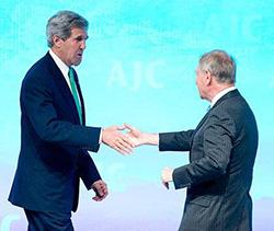 Secretary Kerry greets AJC President Robert Elman