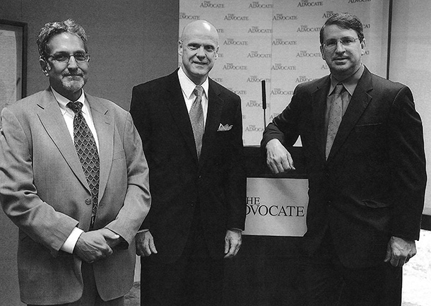 From left, Peter Kovacs, Editor, Dan Shea, General Manager, and John D. Georges, Publisher/CEO of the Advocate