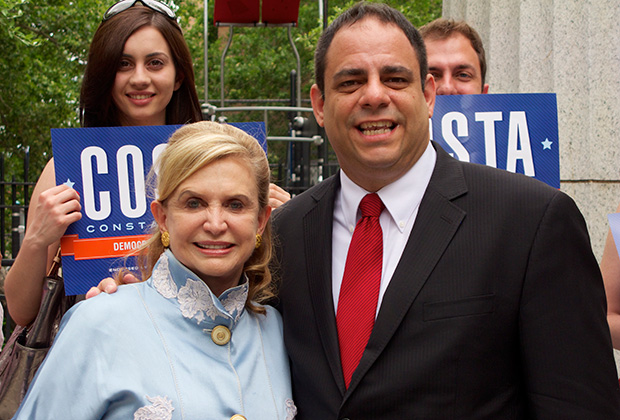 Costa with Congresswoman Carolyn Maloney at the Athens Square