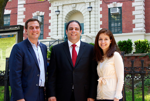 Costa with State Senator Michael Gianaris and Assemblywoman Aravella Simotas
