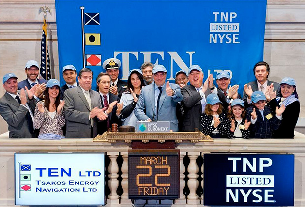 Ringing the bell at the New York Stock Exchange in celebration of TEN's 10th year as listed