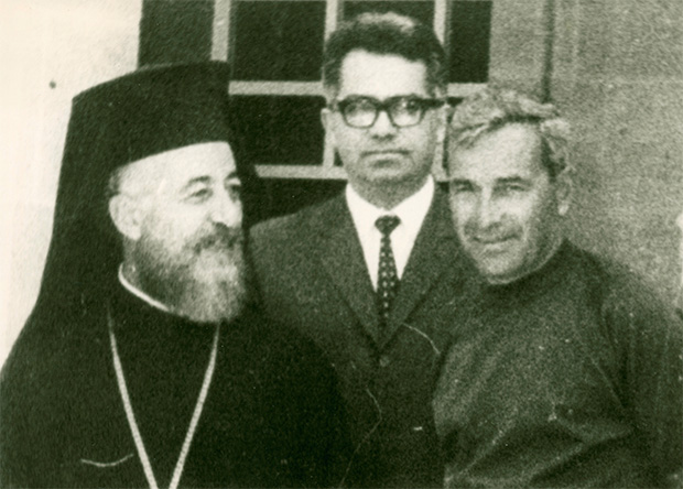 Alexis Parnis with Archbishop and President of Cyprus Makarios. PHOTO: FROM PARNIS' ARCHIVES