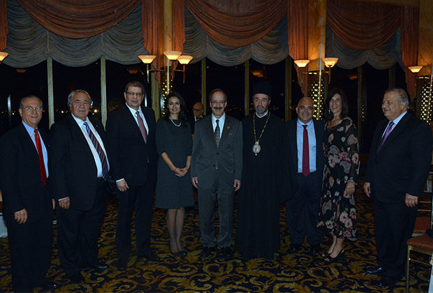 From Left: Anthony Kouzounis (Supreme President of AHEPA), Mr. Demetrios Kaloidis, Permanent Representative of Cyprus to UN Nicholas Emiliou, Consul General of Cyprus in New York Koula Sophianou, Congressman Eliot Engel, Bishop Sevastianos of Zela, Ambassador of Cyprus to the US George Chacalli, Daughters of Penelope President Joanne Saltas and Philip Christopher, President of PSEKA