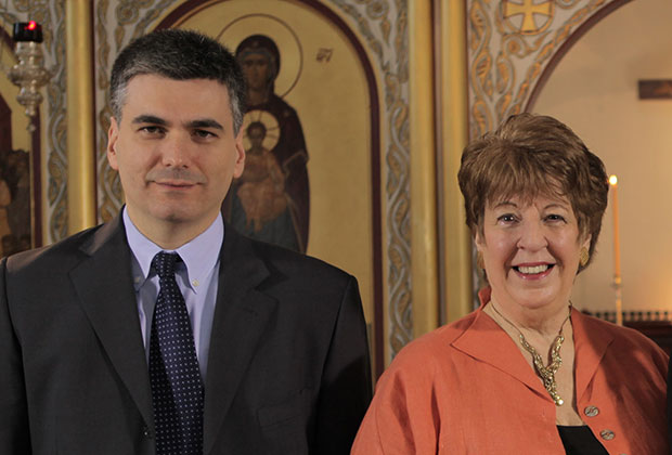 Dr. Grammenos Karanos, Assistant Professor of Byzantine Music at Hellenic College Holy Cross Greek Orthodox School of Theology, and Dr. Vicki Pappas, Former National Chairman of the National Forum of Greek Orthodox Church Musicians