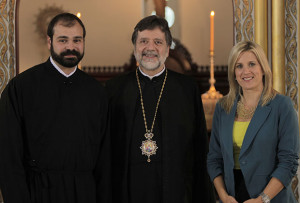 Metropolitan Savas of Pittsburgh and the Director of the Department of Information Technology Theo Nicolakis with host Staci Spanos