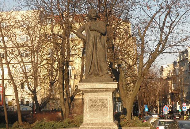 Rigas Pheraios' statue in Belgrade, Serbia