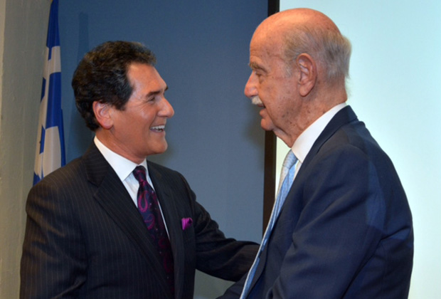 "Ernie Anastos with Paul Ioannidis, author of the book ""Destiny Prevails"" on the Onassis family, and founding board member of the Alexander S. Onassis Foundation"