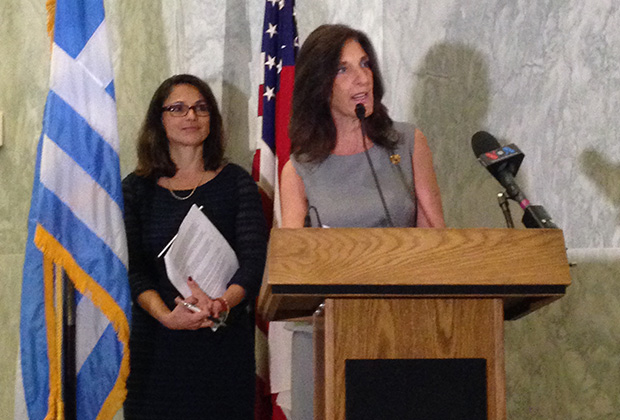 From left, Thalia Assuras, Emcee for the event and former CBS & ABC news anchor, and Joanne Saltas offering remarks