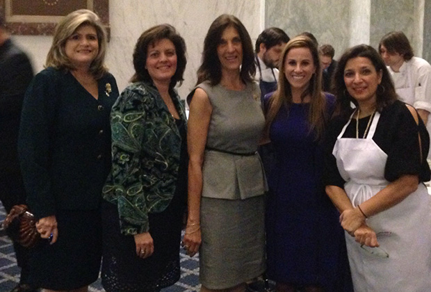 From left, Daughters of Penelope Grand Secretary Connie Pilallis, Grand Vice President Anna-Helene Grossomanides, Grand President Joanne Saltas, Executive Director Elena Saviolakis and Chef Diane Kochilas