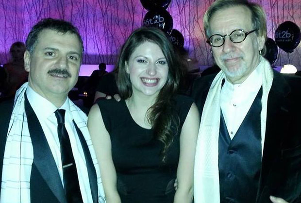 At the American Music Awards after party. From left, Paul Insinna (manager), Angelina and Robert Cutarella (producer).