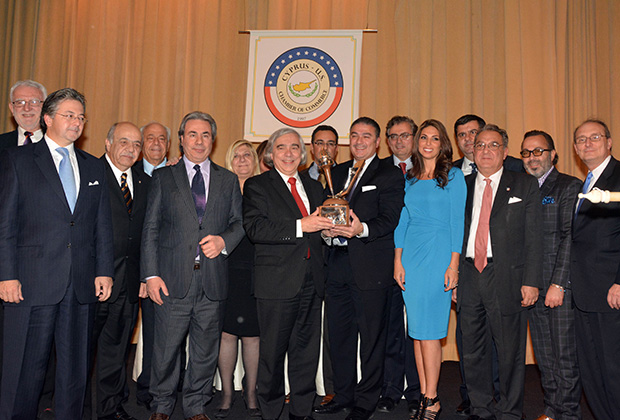 Secretary of Energy, Dr Ernest Moniz is receiving the Cyprus-US Distinguished Merit Award. From left, Theo David, Vassos Vassiliou, Andy Comodromos, Renos Georgiou, Nikos Mouyiaris, Despina Axiotakis. The Honoree, Dr. Ernest J. Moniz, Michael Hadjiloucas, Nicholas Karacostas, Nicolas Nicolaou, Nicole Pettalides Tsiolas, Chris Nicolaou, Dennis Droushiotis, Christos Theoharis, Peter Kakoyiannis, PHOTO: ETA PRESS