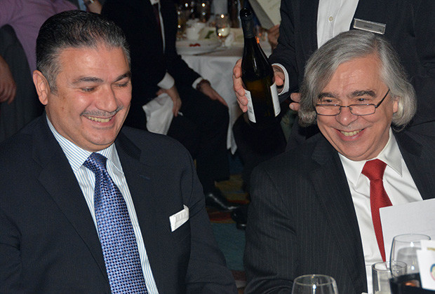 Dr. Ernest Moniz, Secretary of Energy, with Nick Karakostas, President of the CyprusUS Chamber of Commerce, PHOTO: ETA PRESS