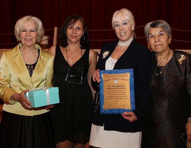 Erika Spyropoulos (2nd from right) was honored by the Federation of Hellenic American Educators. From left, Andriana Filiotis (treasurer of the Federation), Mrs. Eleni Karageorgiou, Education Counselor of the Greek Consulate, and Mrs. Stella Kokolis, President of the Federation.