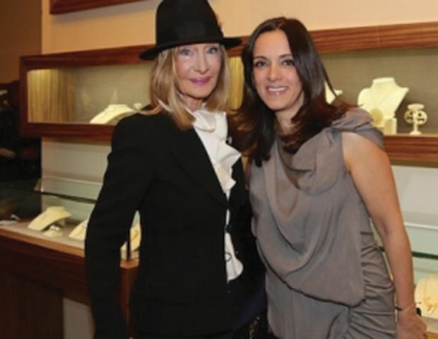 Mara Karetsos with the designer, PHOTO: WENDY PLOGER