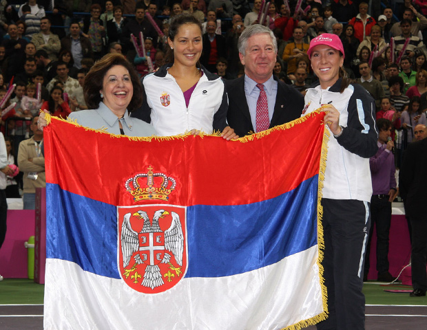 The Royal Couple with famous tennis players Ana Ivanovic (middle) and Jelena Jankovic (right)