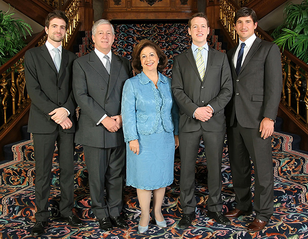 Left to right: HRH Hereditary Prince Peter, HRH Crown Prince Alexander, HRH Crown Princess Katherine, HRH Prince Philip, HRH Prince Alexander