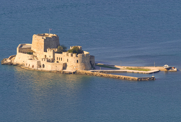 Bourtzi, the iconic Venetian island castle in the harbor
