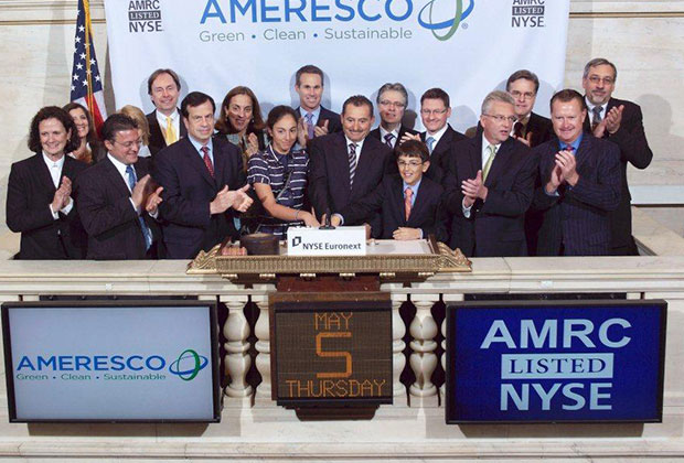 George Sakellaris takes Ameresco Public on July 2010. The Management Team along with George's children, Christina and Peter and his wife Caterina Sakellaris ringing the bell at the opening of the NYSE Exchange.