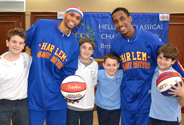 The Harlem Globetrotters at the school for a anti-bullying workshop. Students in this photo are: John Capetanakis, Evan Capetanakis, Basil Grigos and Alex Capetanakis