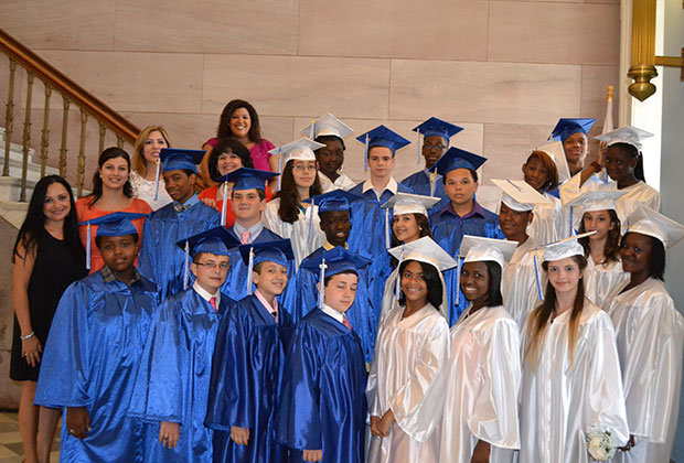 One of 8th grade classes at their Graduation, Brooklyn Borough Hall