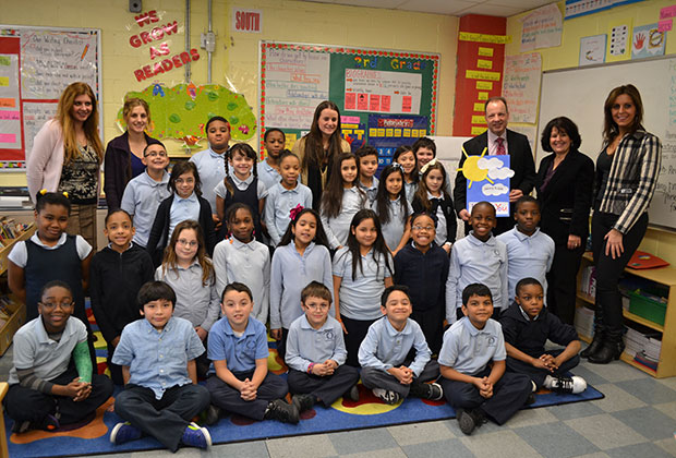 Nick Gregory from Fox 5 visited the school. The adults in the photo are: Lambrini Lambrinou, Melina Dimitriou, Nicole Gossert, Nick Gregory, Christina Tettonis and Chrissy Kouroupakis Varas.