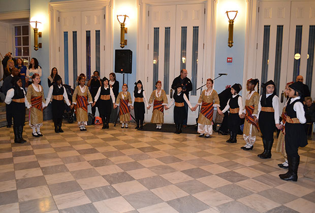 The school's Dance Troupe dancing at Brooklyn Borough Hall in honor of Greek Independence Day