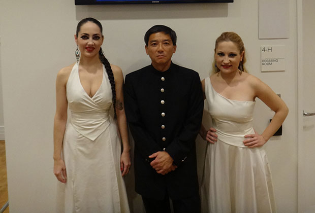 Souzana and Eleni with Carnegie concert producer, Dr. Leon Ying
