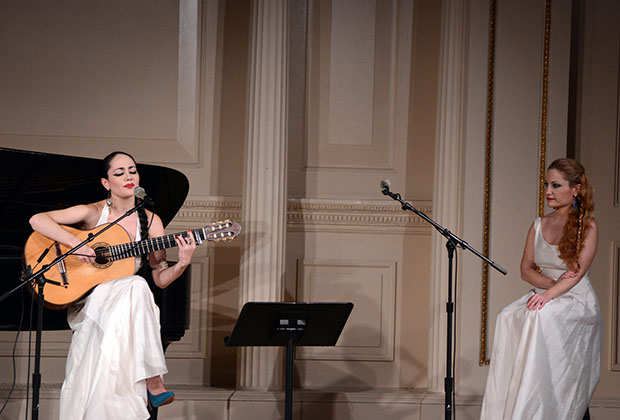 Eleni (right) and Souzana Vougioukli on stage at Carnegie Hall; PHOTO: ETA PRESS