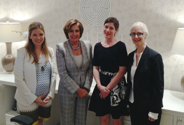 House Democratic Leader Nancy Pelosi with Seleni Institute Founder and Executive Chairwoman Nitzia Logothetis (left), Executive Director Rebecca Benghiat and Clinical Director Christiane Manzella, PhD, FT (right) at the Seleni Institute