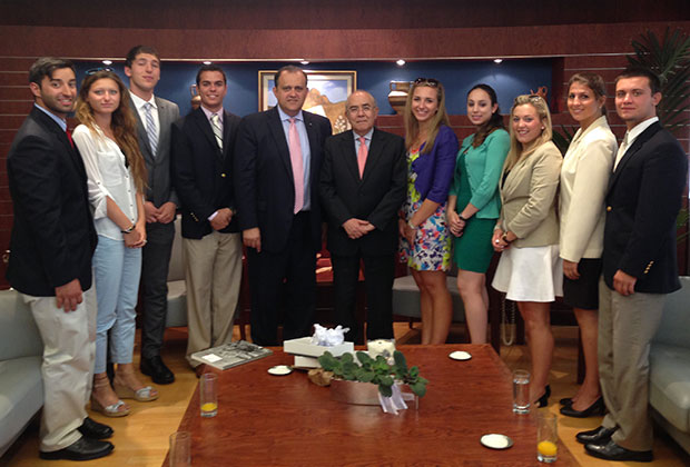 President of the House of Representatives of the Republic of Cyprus, Yiannakis Omirou, with the students and Nick Larigakis