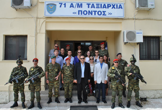 Students with Lieutenant General Ilias Leontaris (Commander NRDC-GR) in front of the 71 Air-Mobile Brigade headquarters in Thessaloniki