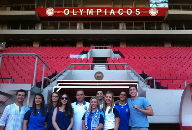 Students touring the Karaiskakis Stadium, sponsored by Olympiakos FC and Evangelos Marinakis