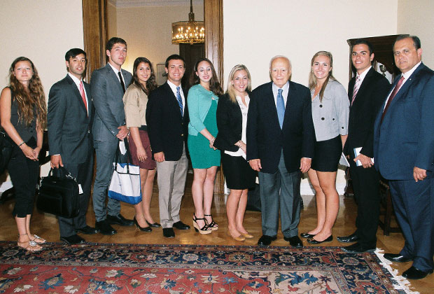 With President Karolos Papoulias of the Hellenic Republic at the Presidential Palace. AHI President Nick Larigakis (right) and the student participants: Alexandra Veletsis, a sophomore at the University of Miami pursuing a Bachelor of Arts degree in International Studies with a Spanish Language Minor; Christiana Metaxas, a junior pursuing a double-major in Linguistics and French at Binghamton University, State University of New York; Evan Frohman, a junior pursuing a Bachelor of Arts degree in Political Science, Legal Studies and Economics at Northwestern University, in Evanston, Illinois; Harry Jacobsen, a rising junior at University of South Carolina pursuing a Bachelor of Arts degree in political science; Matthew Moramarco, a native of Andover, Massachusetts and a rising senior at the University of Arizona; Paulina Likos, a rising junior at Villanova University pursuing a double major in Political Science and Spanish with a concentration in Communication; Peter Milios, a junior at Florida State University, pursuing a Bachelor of Arts degree in both International Affairs and Political Science with a minor in Middle Eastern Studies; Tiffani Katherine Wills, a rising sophomore at the University of Alabama, Tuscaloosa, Alabama, majoring in Psychology; Zacharo Diamanto Gialamas, a rising senior at the George Washington University, majoring in Political Science and minoring in Creative Writing.