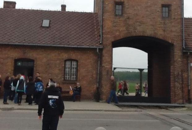 Asher walking towards Birkenau extermination camp