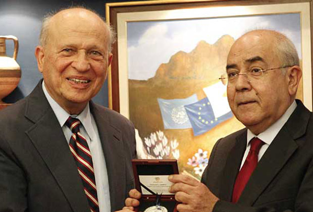 President of the Cypriot House of Representatives Omirou presents AHI Founder Rossides with the highest award the House can bestow upon an individual.
