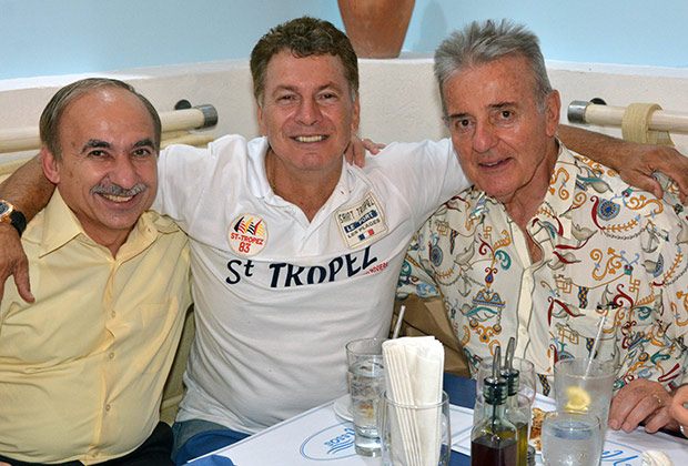Gus Skoufis, Paul Macropoulos and Tom Dushas at the chapter's diner in Nissos Restaurant