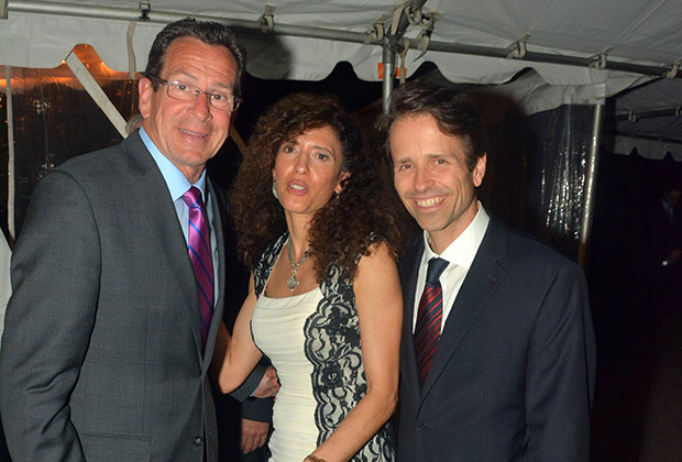 D. Smith and his wife Litsa with the Governor of Connecticut Dannel Malloy