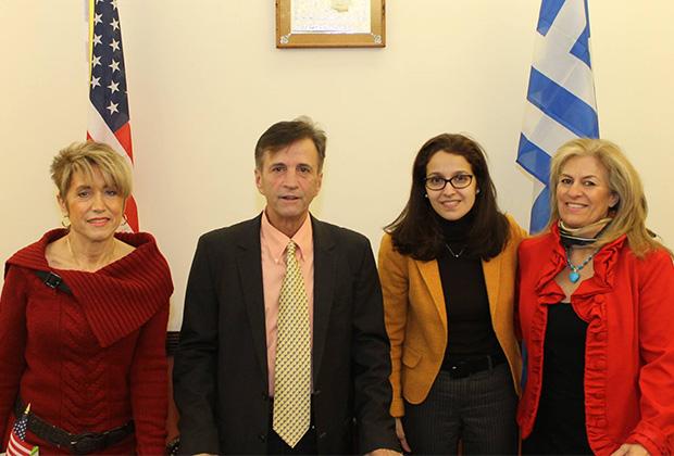 From left, Sophia & Petros Galatoulas, President of the Federation, Assemblywoman Aravella Simotas and Christina Kostakis; PHOTO: ETA PRESS