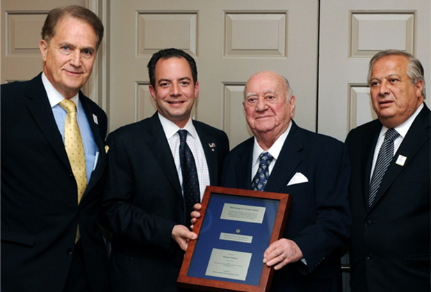 Reince Priebus receiving the 2012 Livanos Award in Washington, DC. Pictured with Priebus (L to R) are the Coordinated Effort's Andy Manatos, Andrew Athens and Philip Christopher. PHOTO: DEMETRIOS RHOMPOTIS