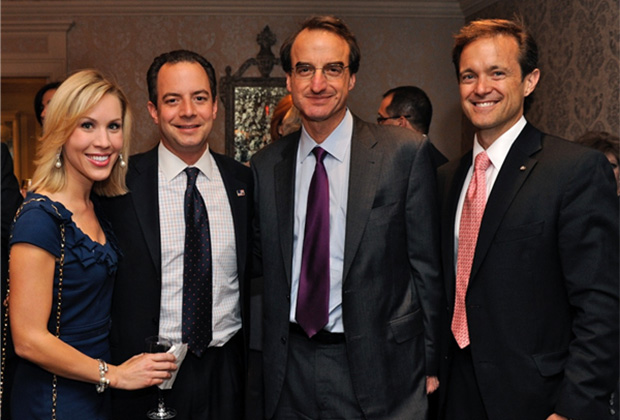 (L to R) Mr. and Mrs. Reince and Sally Priebus, the American Jewish Committee's Jason Isaacson, and Mike Manatos. PHOTO: DEMETRIOS RHOMPOTIS