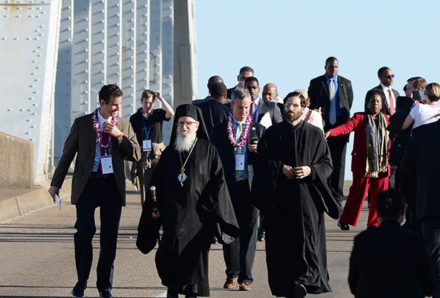 Archbishop Demetrios crossing Edmund Pettus Bridge in Selma Alabama, March 7, 2015