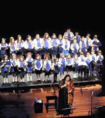 AHP choir members with Maria Farantouri at the recent concert in New York